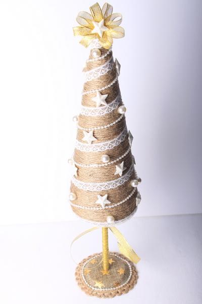 7ecf06dd7 Jutové vianočné dekorácie: stromček   Navodyzadarmo.sk