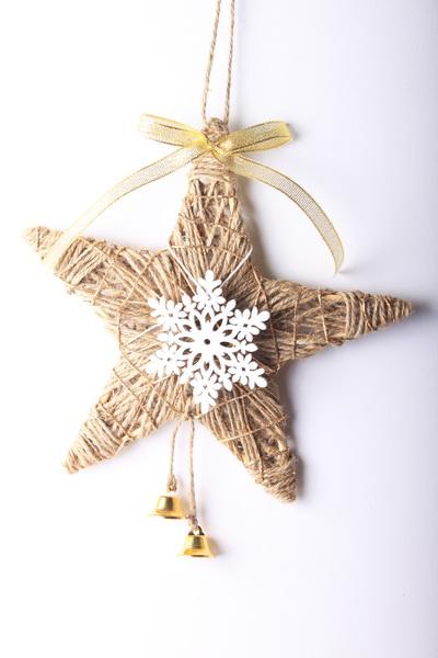 5ccb5e7fa Jutové vianočné dekorácie: hviezda a banka
