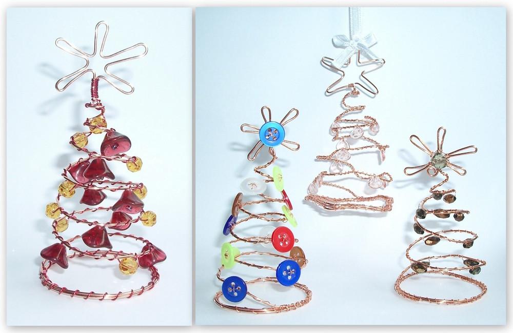 3344be21a Návod na drôtované vianočné ozdoby - stromčeky